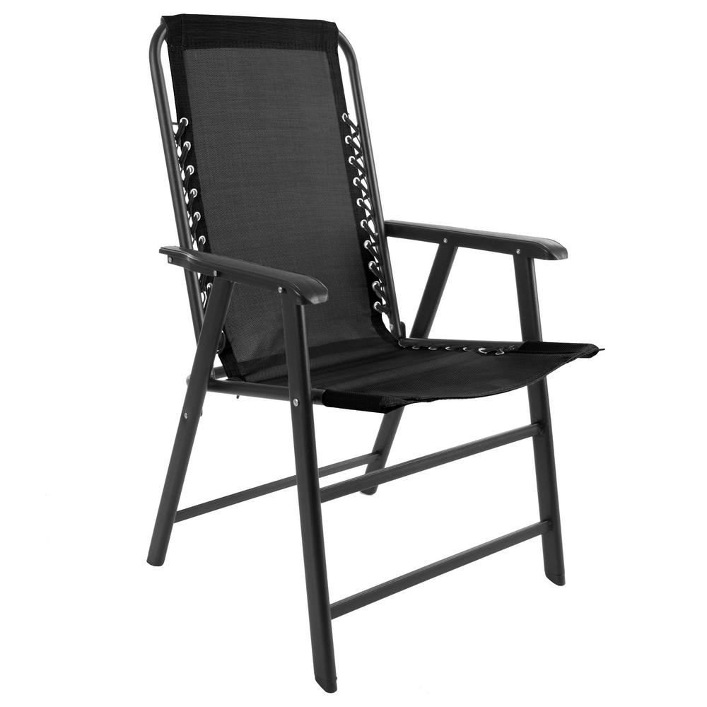 Foldable Lawn Chairs Pure Garden Black Metal Folding Lawn Chair