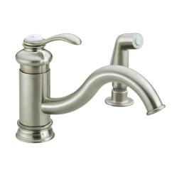 Kohler Kitchen Sink Faucets Lights Fairfax Single Handle Standard Faucet With Sidespray And Less Escutcheon In Vibrant Brushed Nickel