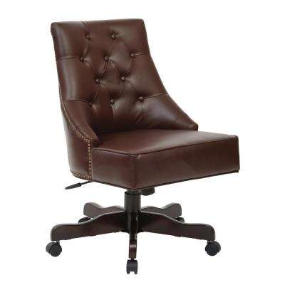 tufted desk chair dorm room office leather chairs home rebecca cocoa bonded with nail heads espresso base