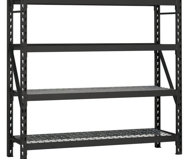 D 4 Shelf Welded Steel Garage Storage Shelving Unit With Wire Deck In Black