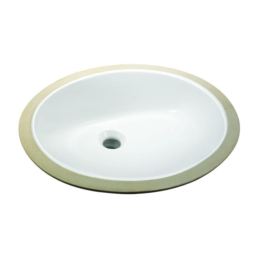 Glacier Bay Oval Undermounted Bathroom Sink in White14