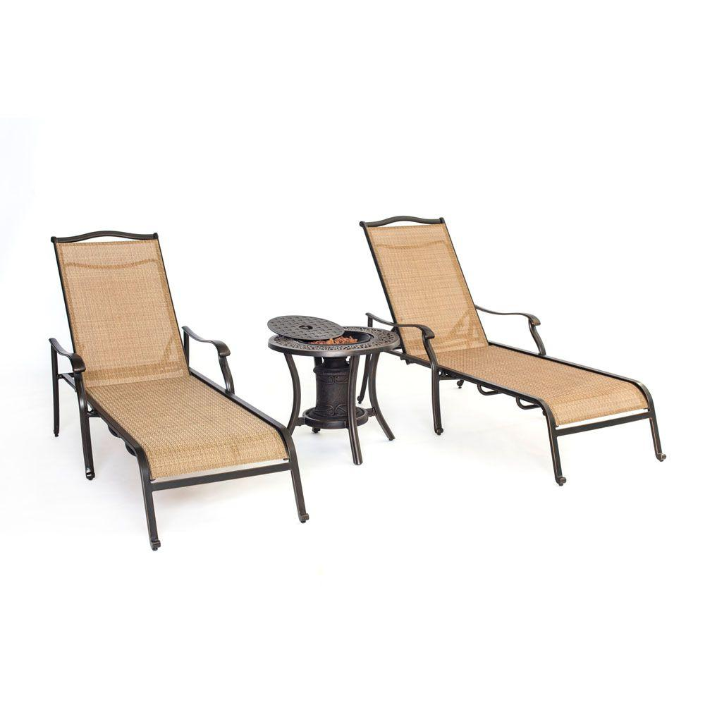 Pool Chaise Lounge Chairs Hanover Monaco 3 Piece Patio Chaise Lounge Set With Fire Urn Side Table