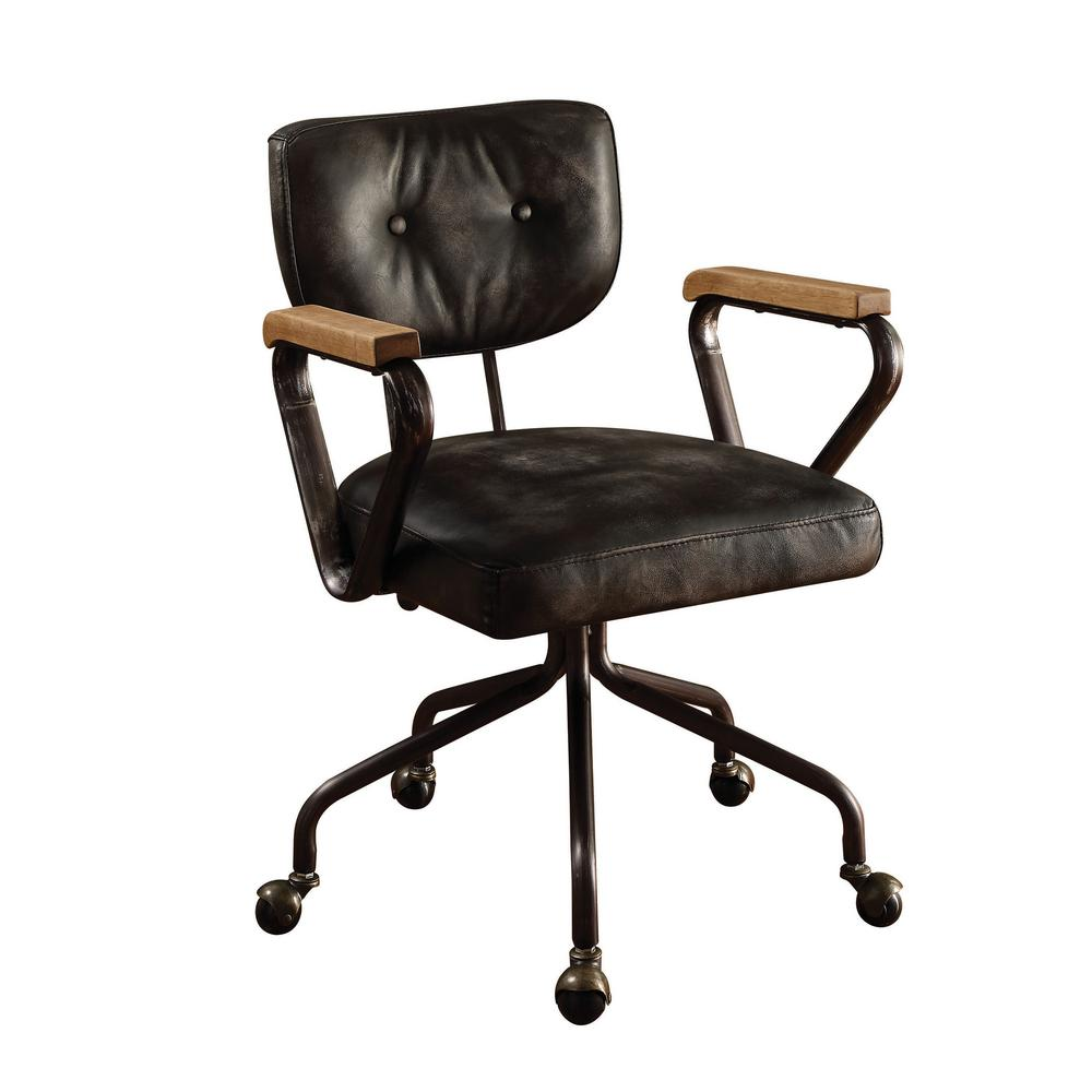 durable office chairs retro metal acme furniture hallie vintage black top grain leather chair 92411 the home depot