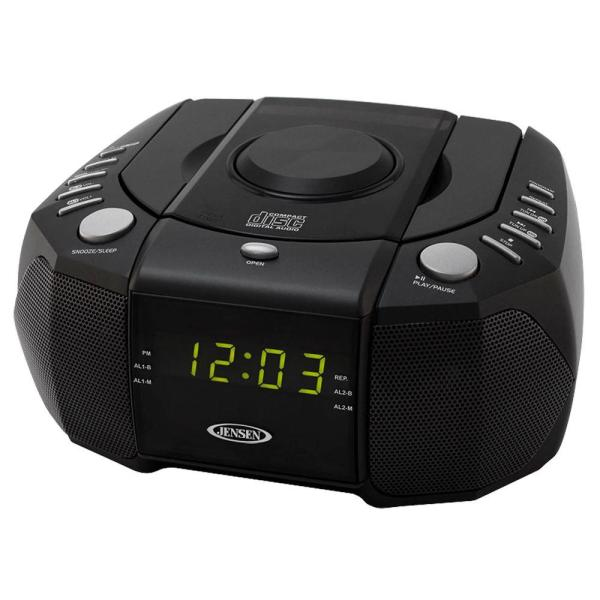 Jensen Fm Stereo Dual Alarm Clock Radio With Top Loading Cd Player Digital Tuner And Aux