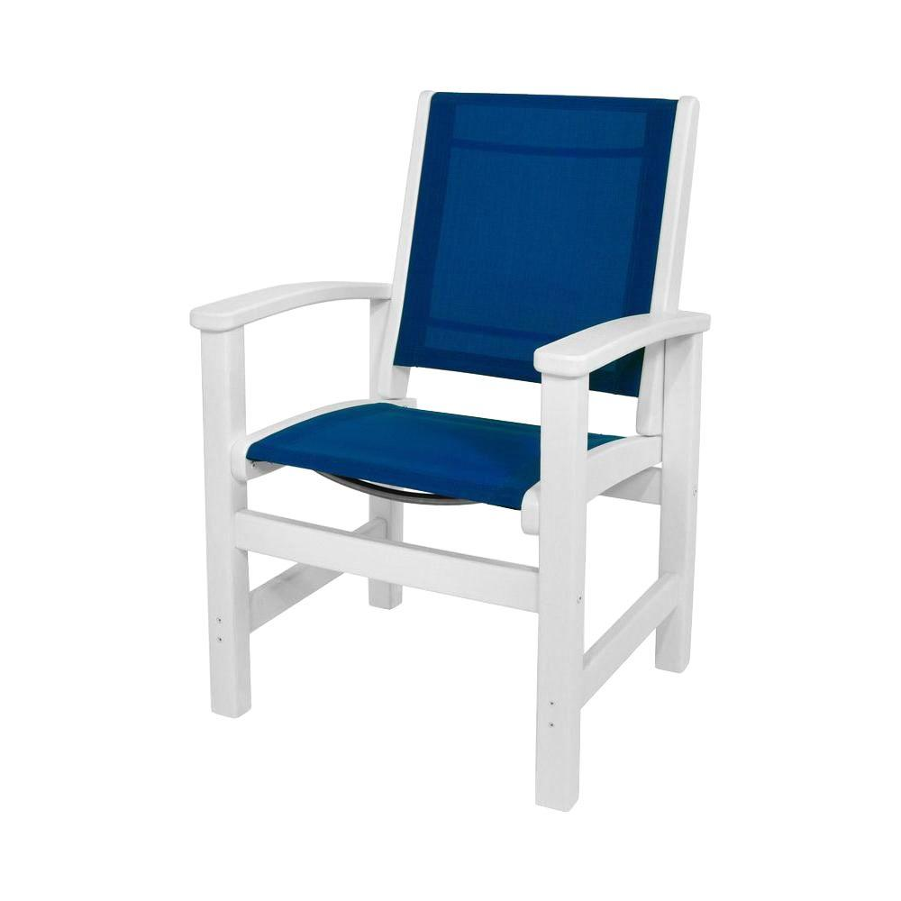 Royal Blue Chair Polywood Coastal White All Weather Plastic Sling Outdoor Dining Chair In Royal Blue
