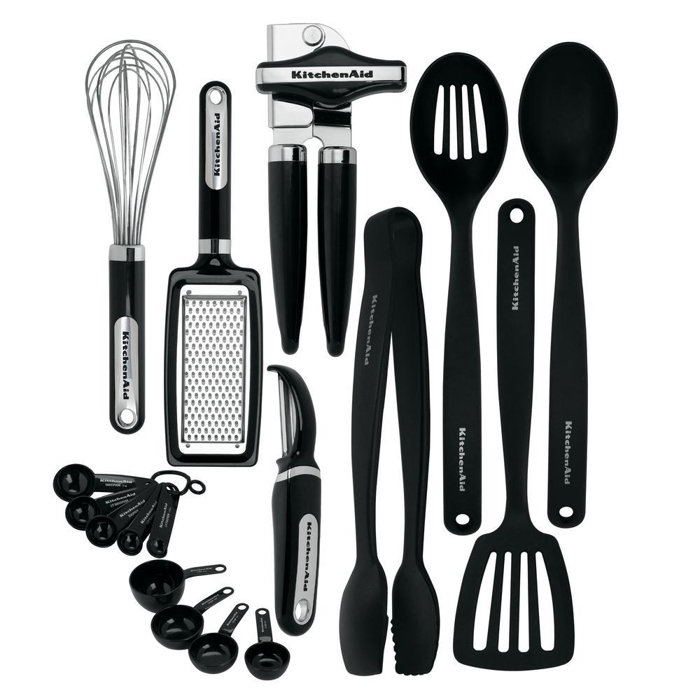 kitchen utensil sets stationary islands for sale kitchenaid 17 piece utensils set in black kc448bxoba the home depot