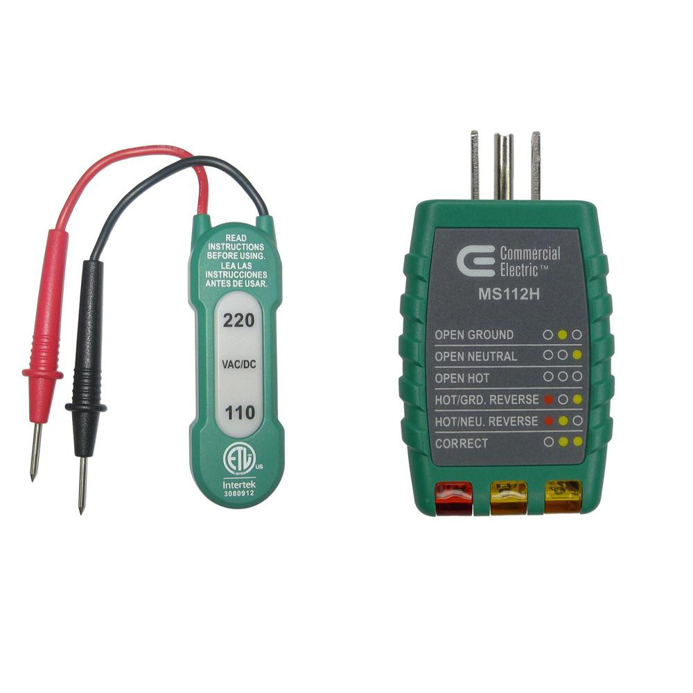 hight resolution of commercial electric 110 220v ac dc voltage tester with outlet tester