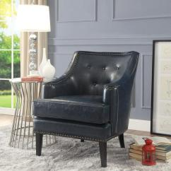 Leather Accent Chairs Cheap Tablecloths And Chair Covers For Rent Inspired Home Charleston Pu With Button Tufting Blue