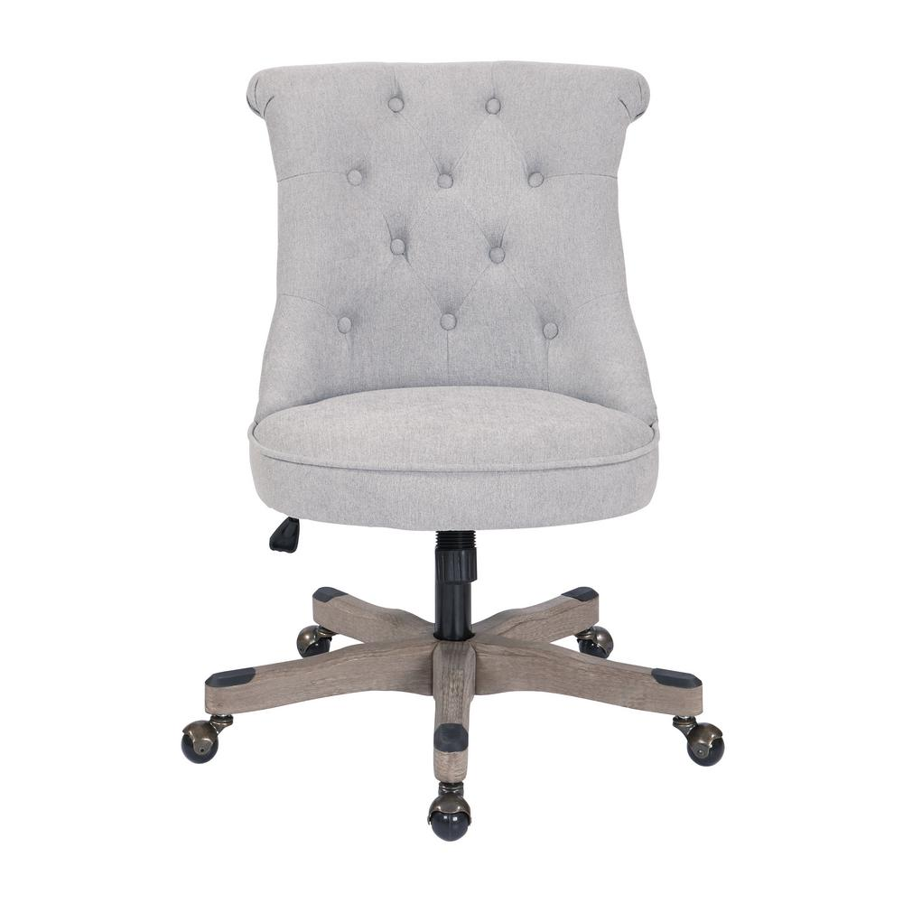 tufted desk chair what kind of fabric for dining room chairs osp home furnishings hannah fog office with grey wood base hnnsa e17 the depot