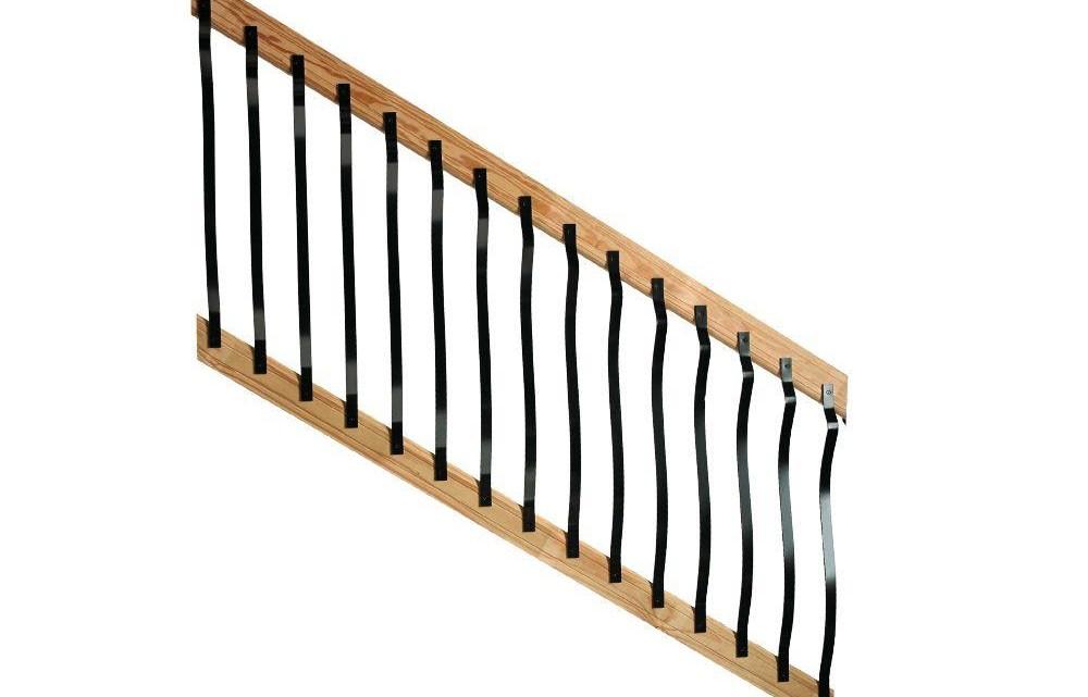 Deckorail 6 Ft Pressure Treated Cedar Tone Pine Contour Lightning | Cedar Handrail Home Depot | Railing Systems | Handrail Kit | Cedar Tone | Deck Stair Railing Kit | Aluminum Balusters