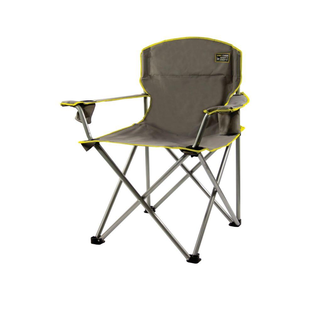 Camping Chair With Canopy Gray Heavy Duty Folding Patio Armchair