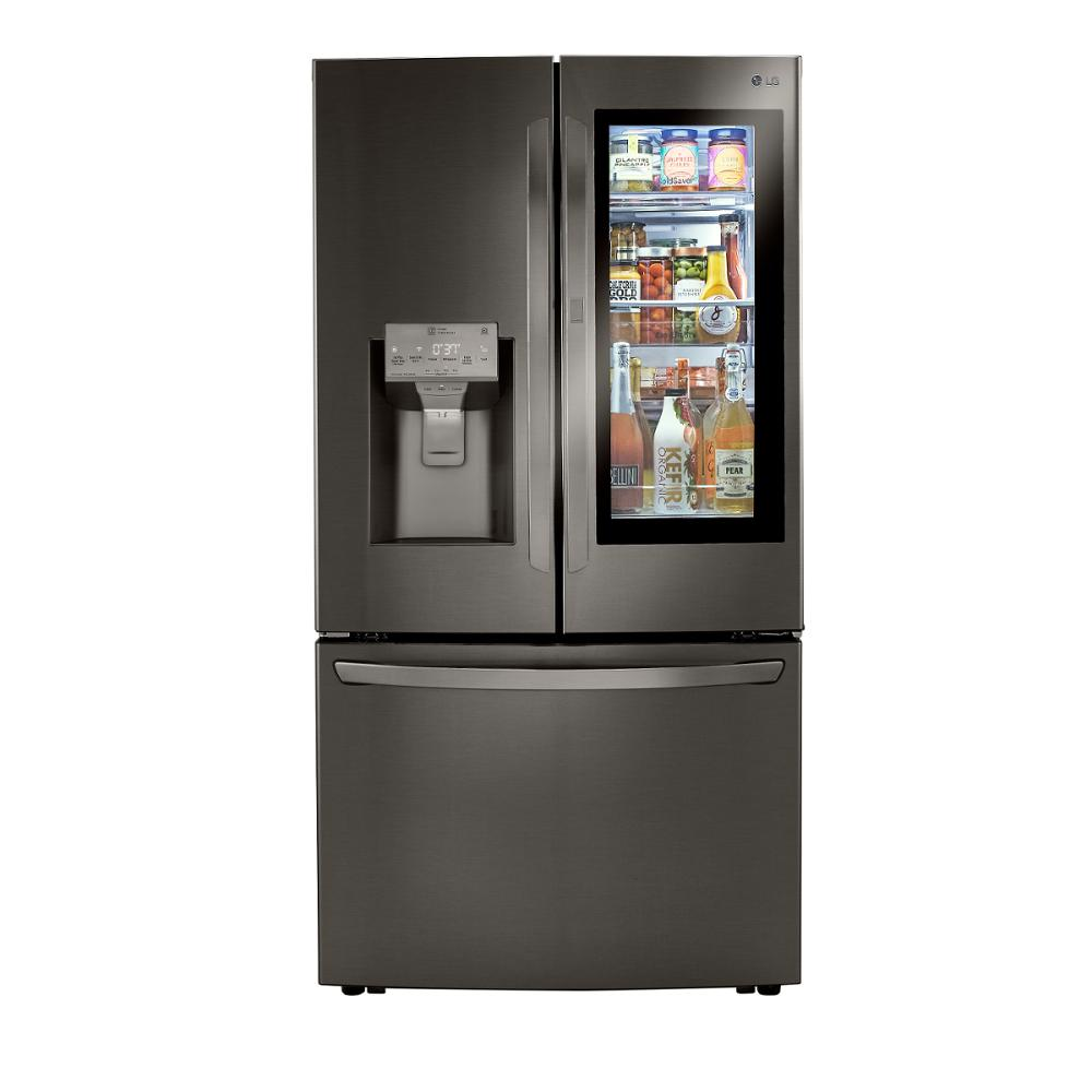 Lg Electronics 23 3 Cu Ft French Door Refrigerator With Instaview Dual And Craft Ice In Printproof Black Stainless Counter Depth Lrfvc2406d The Home Depot