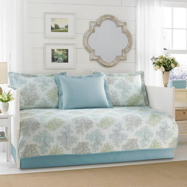 Laura Ashley Saltwater 5-piece Blue Daybed Set-225190