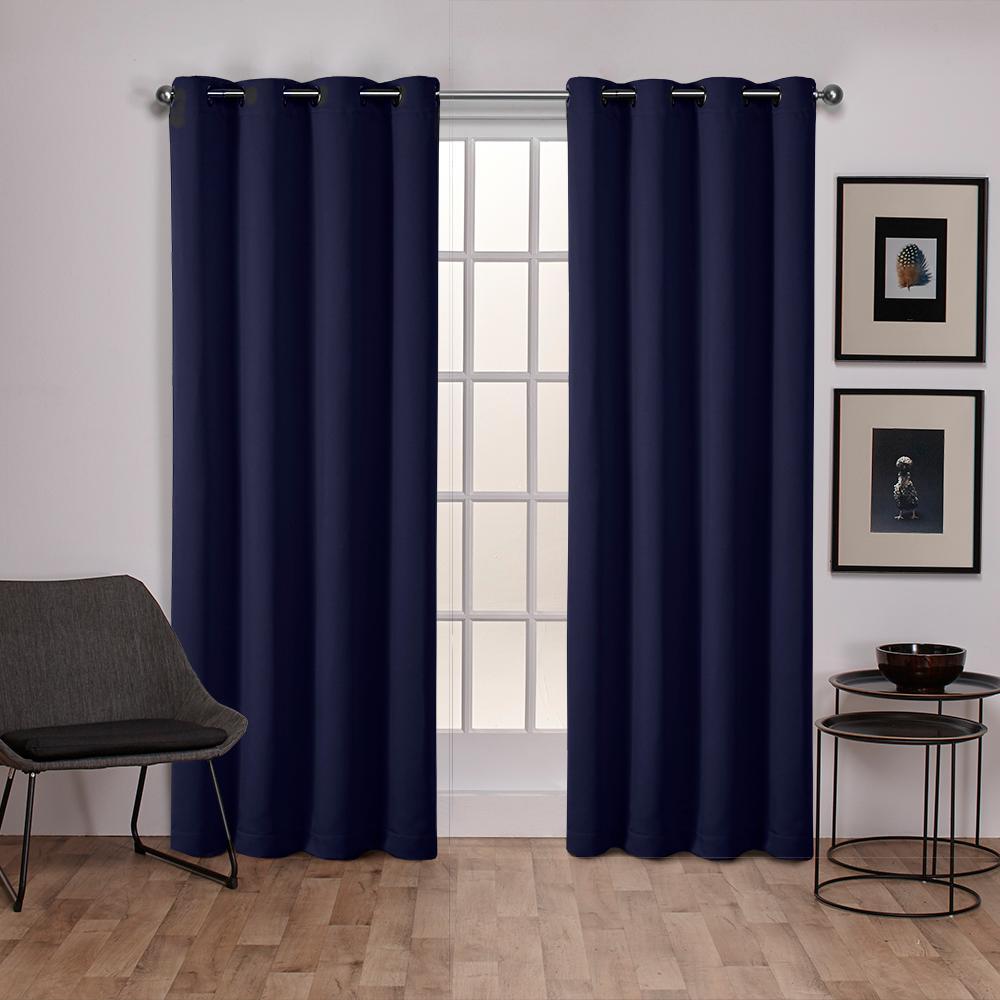 Sateen Peacoat Blue Twill Weave Blackout Grommet Top
