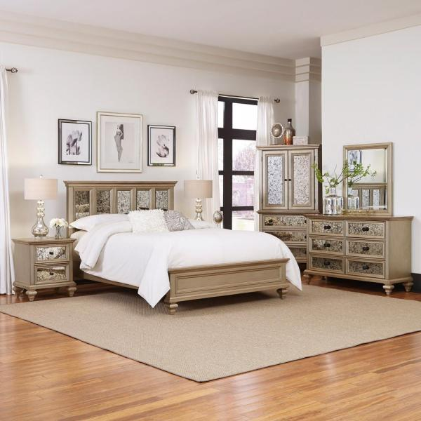Homestyles Visions Silver Gold Champagne King Bed Frame 5576 600 The Home Depot