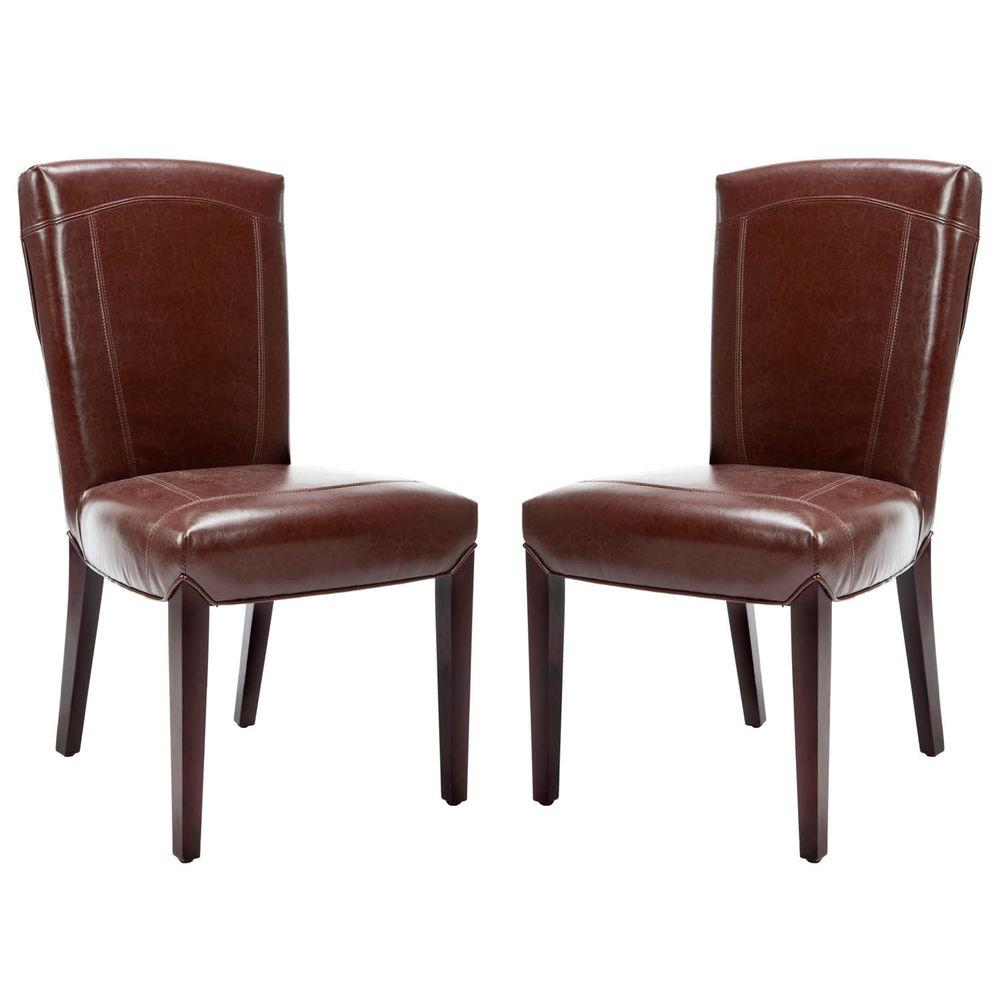 Safavieh Ken Brown Leather Side Chair Set of 2HUD8200A