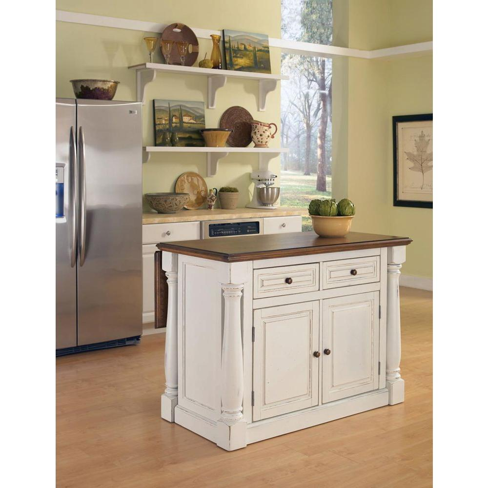 Home Styles Monarch White Kitchen Island With Drop Leaf