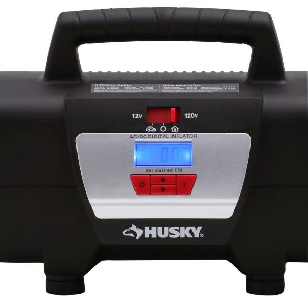Husky Home And Auto Inflator 12-volt 120-volt Pump Compact Portable Inflates