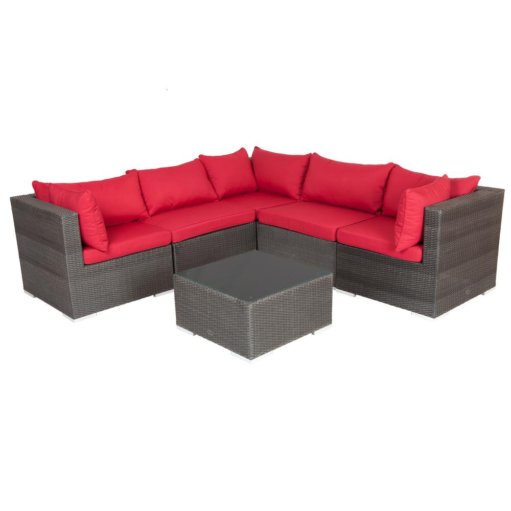 cushion sofa set bed full sleeper patio sense sino mocha all weather wicker sectional with red and table