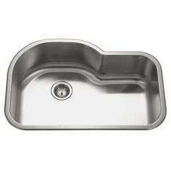 Undermount Single Bowl Kitchen Sink Vintage Decor Houzer Medallion Stainless Steel 31 5 In Offset Lustrous Satin