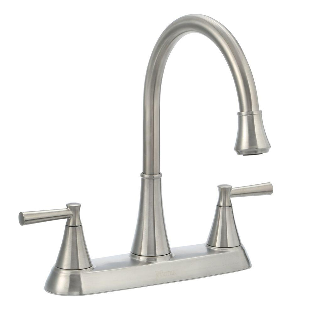 two handle kitchen faucet purple appliances pfister cantara high arc 2 standard with side sprayer in stainless steel