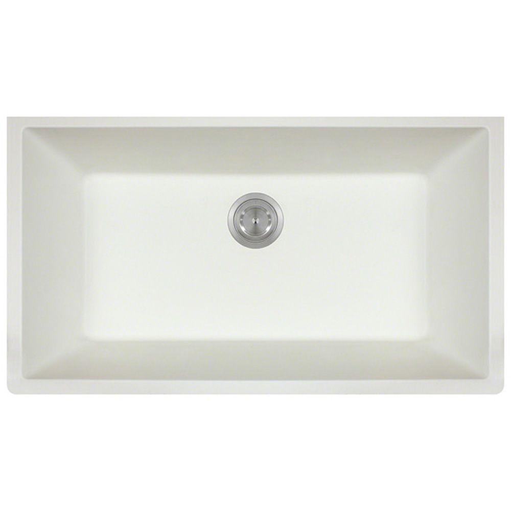 undermount single bowl kitchen sink paint polaris sinks granite 33 in white