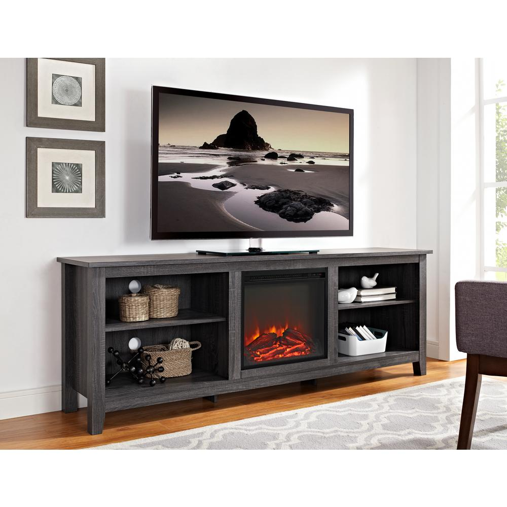 Walker Edison Furniture Company 70 in Wood Media TV Stand Console with Fireplace  Charcoal