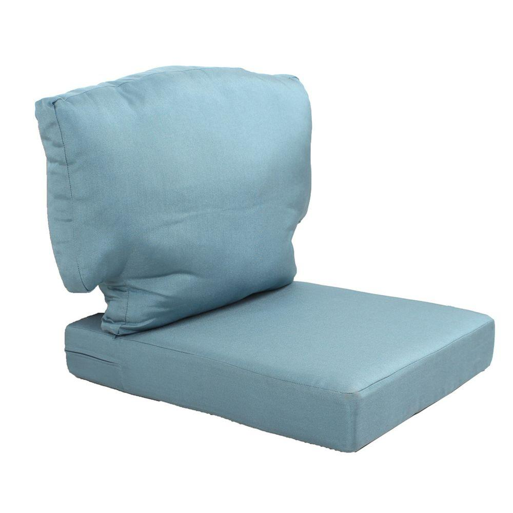 Patio Chair Replacement Cushions Martha Stewart Living Charlottetown Washed Blue Replacement Outdoor Chair Cushion