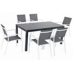 Sling Chair Outdoor Hanging Hammock Cambridge Nova 7 Piece Aluminum Dining Set With 6 Chairs In Gray White And A 78 X 40 Table