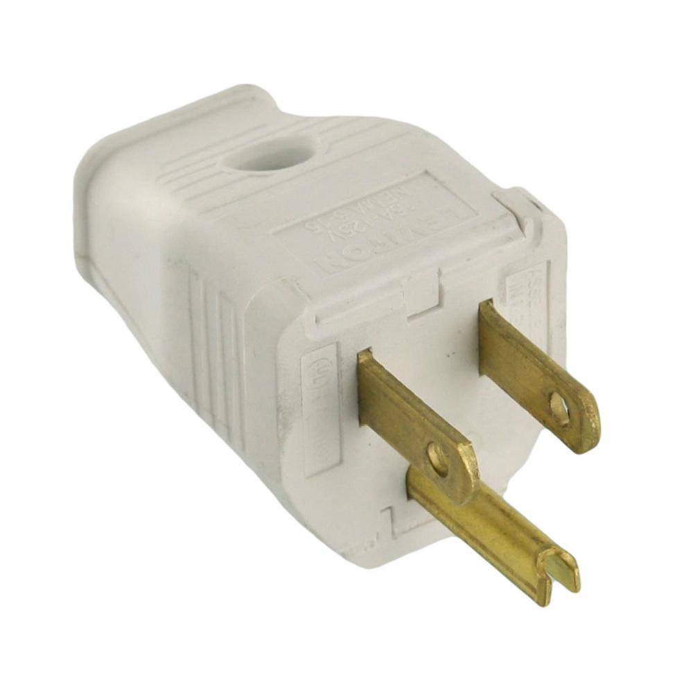medium resolution of leviton 15 amp 125 volt 3 wire grounding plug white 002 3w101 0wh polarized plug wiring leviton as well as 20 250 volt plug in addition