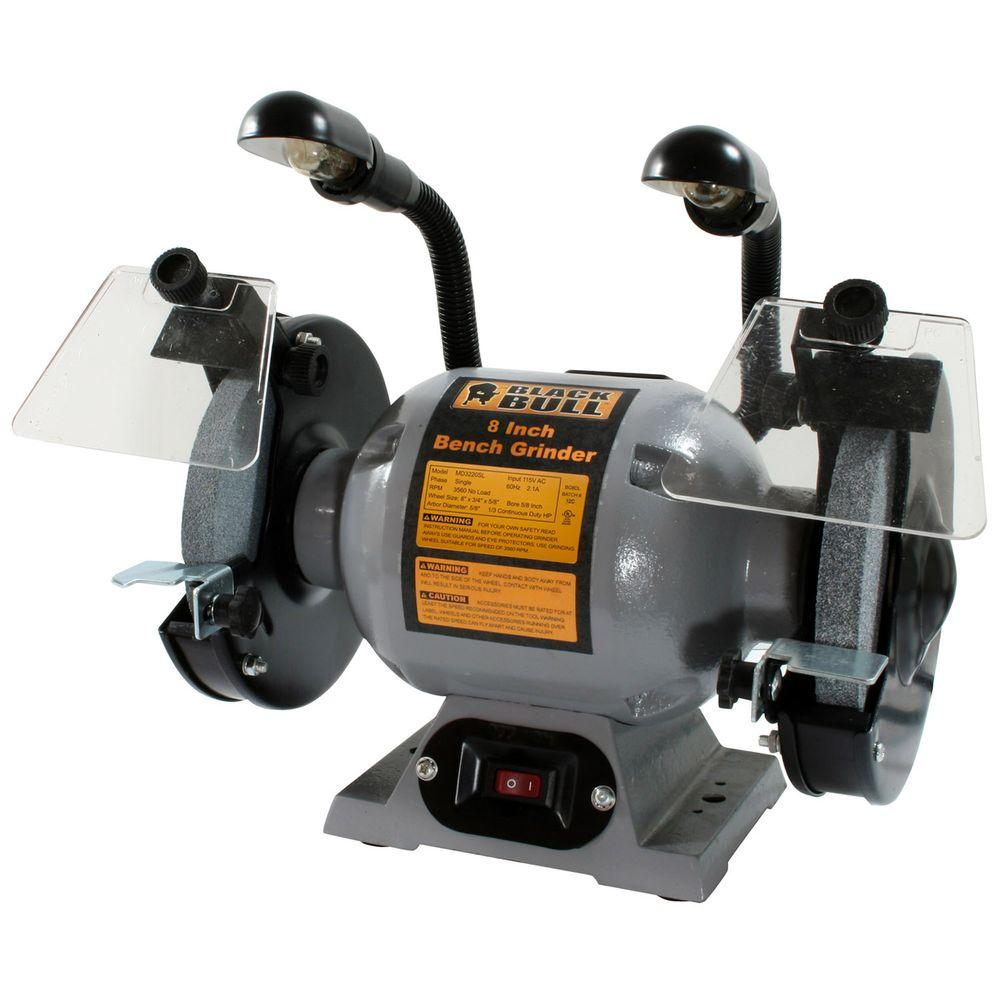 hight resolution of black bull 8 in bench grinder with lights