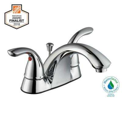 Centerset  Handle Low Arc Bathroom Faucet In Chrome