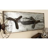 46 in. x 18 in. Vintage Airplane Wall Art in Rustic Finish ...