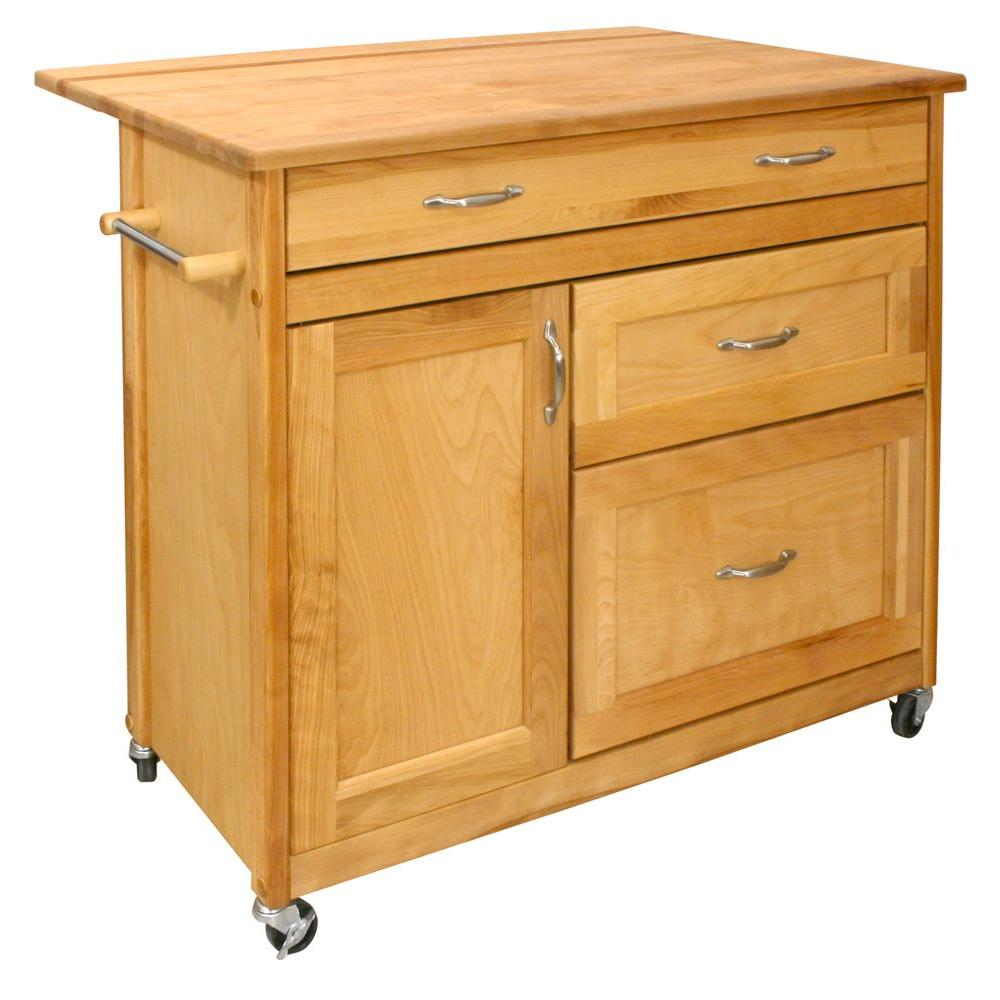 Catskill Craftsmen Natural Kitchen Cart With Drawer1521