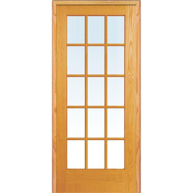 Right Hand Unfinished Pine Glass 15-Lite Clear True Divided Single Prehung  Interior Door