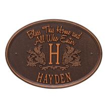 Bless Home Monogram Oval Personalized Plaque-2823ac