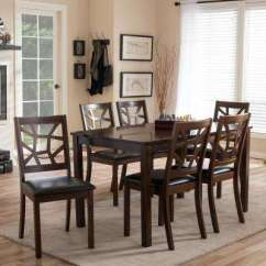 Chairs For Dining Room Set Straight Back Chair Covers Sets Kitchen Furniture The Home Depot Mozaika 7 Piece Dark Brown Faux Leather Upholstered