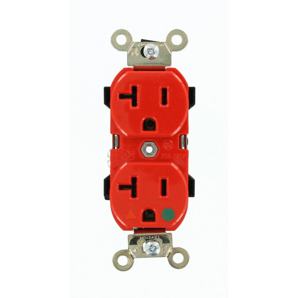 medium resolution of leviton 20 amp hospital grade extra heavy duty isolated ground duplex outlet red