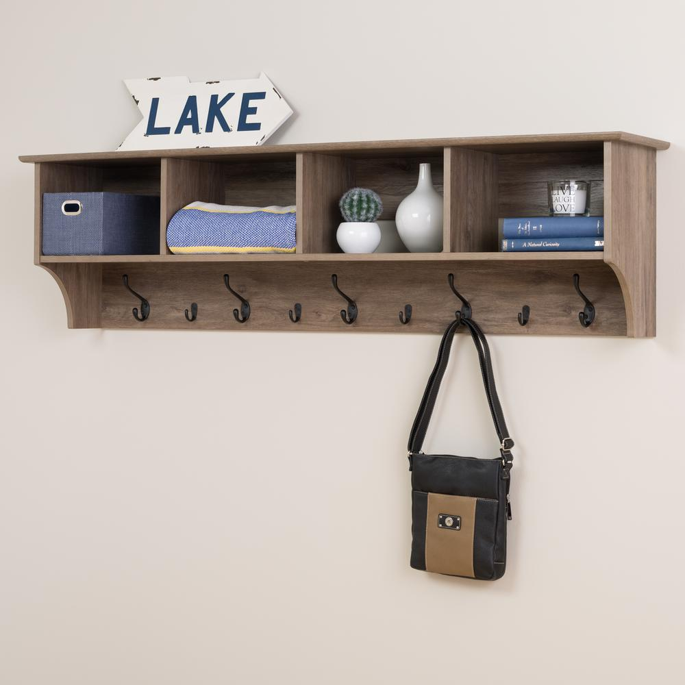 Prepac Drifted Gray Wall Mounted Coat Rack