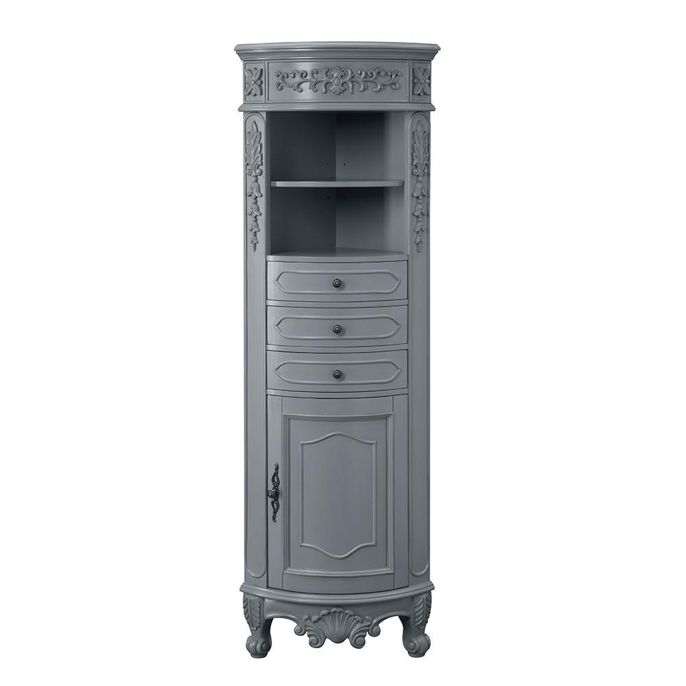 hight resolution of h single door linen cabinet in antique gray