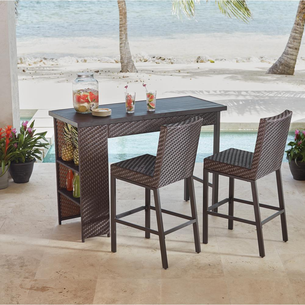 outdoor bar table and chairs white plastic lounge hampton bay rehoboth 3 piece wicker height dining set