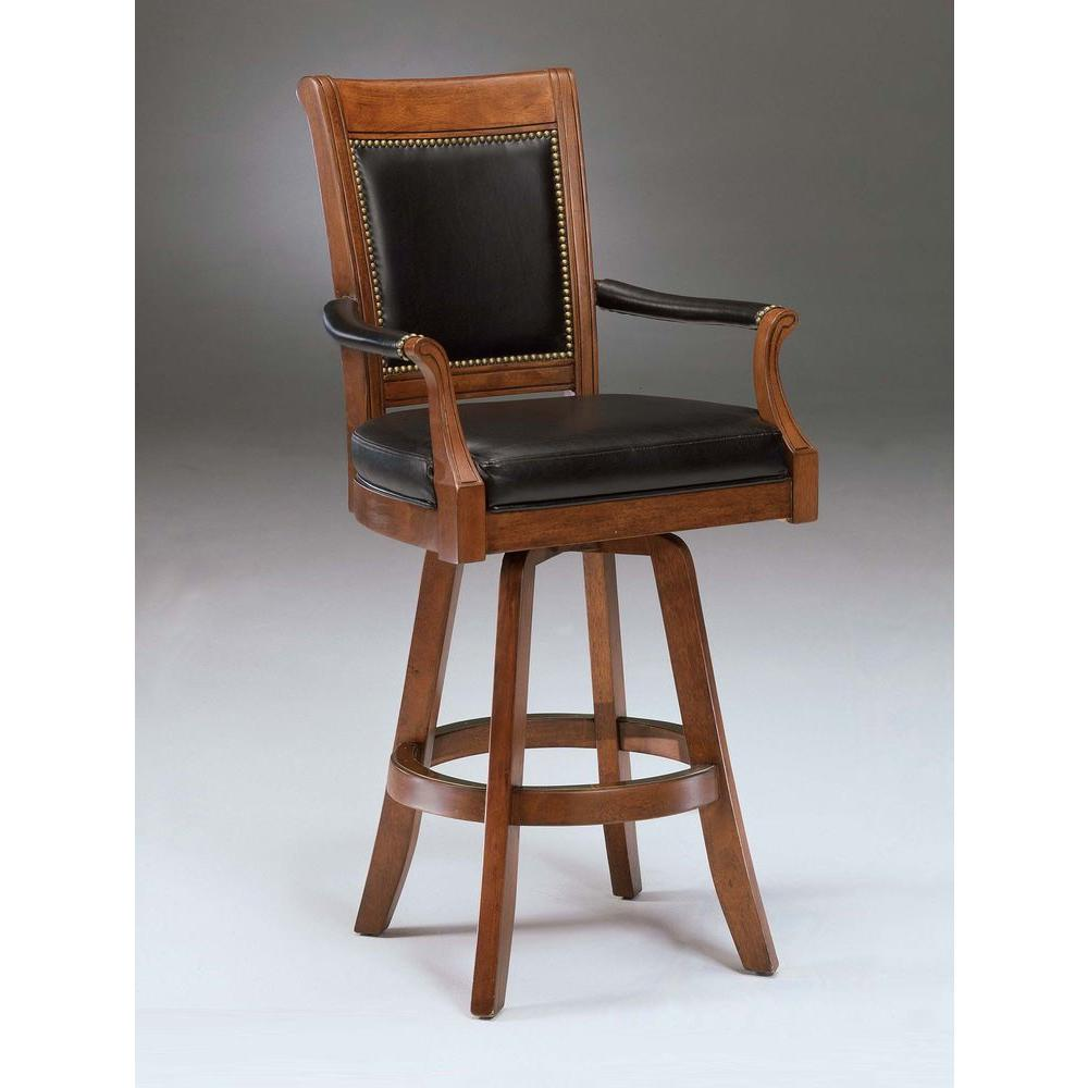 swivel chair not staying up side chairs for dining room hillsdale furniture kingston 30 in light cherry cushioned bar stool