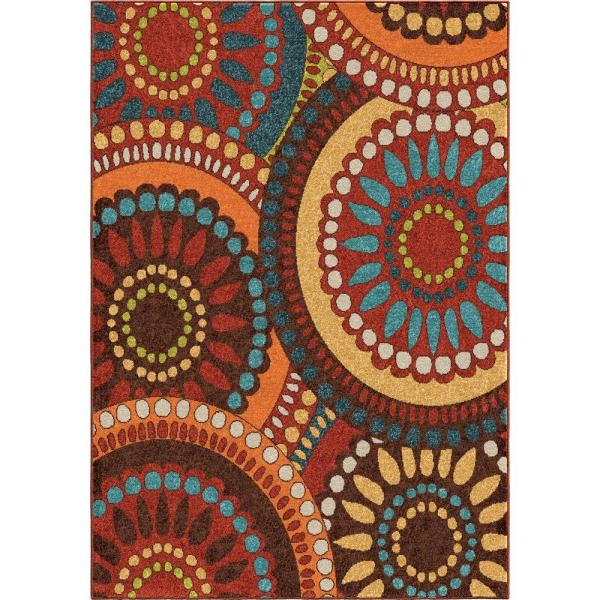 Orian Rugs Pinwheel Orange 8 Ft. X 11 Indoor Area Rug