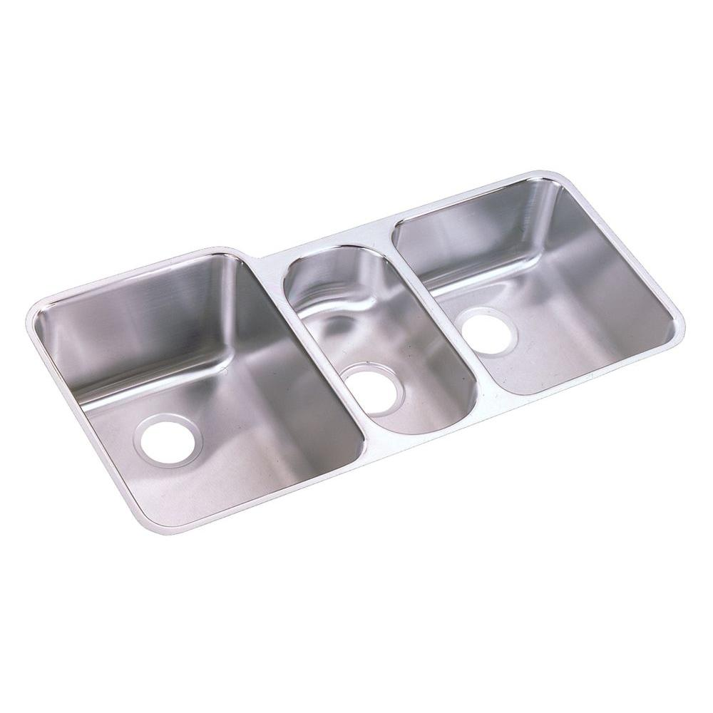 triple kitchen sink stoves at lowes elkay lustertone undermount stainless steel 40 in bowl
