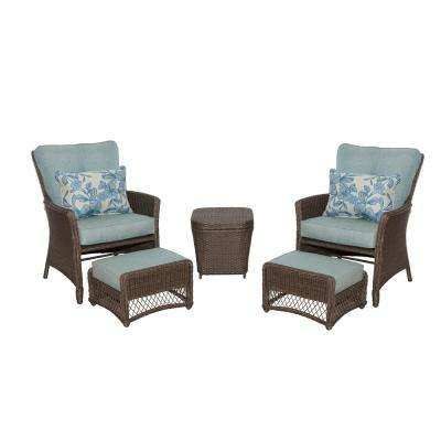 outdoor chair and ottoman yamasoro ergonomic hampton bay patio conversation sets lounge fallsview 5 piece wicker set with teal olefin cushions
