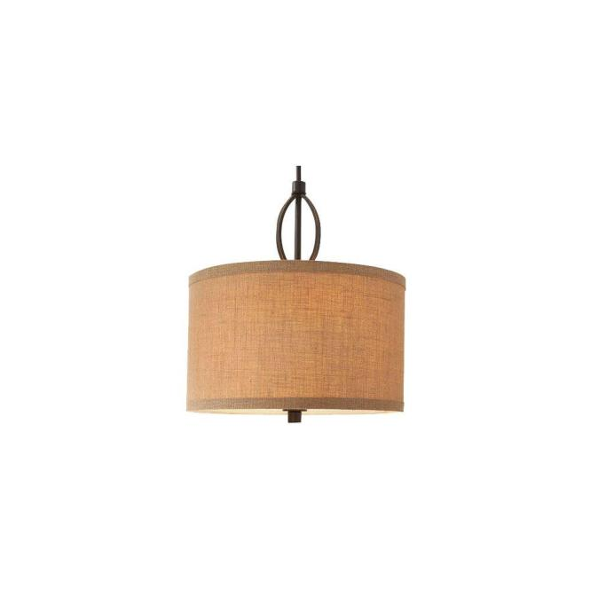 Hampton Bay 3 Light Oil Rubbed Bronze Pendant With Burlap Drum Shade And Hardwire