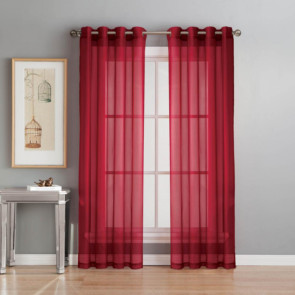 Window Elements Sheer Diamond Sheer Voile Red Grommet Extra Wide Curtain Panel 56 in W x 84 in