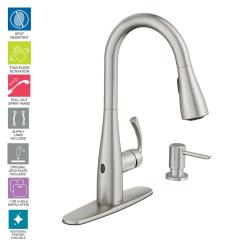 Single Kitchen Faucet Island With Cabinets Moen Essie Touchless Handle Pull Down Sprayer This Review Is From In Spot Resist Stainless