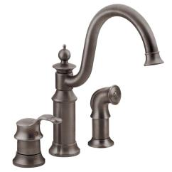 3 Piece Kitchen Faucet Aid Appliance Moen Waterhill High Arc Single Handle Standard With Side Sprayer In Oil Rubbed Bronze