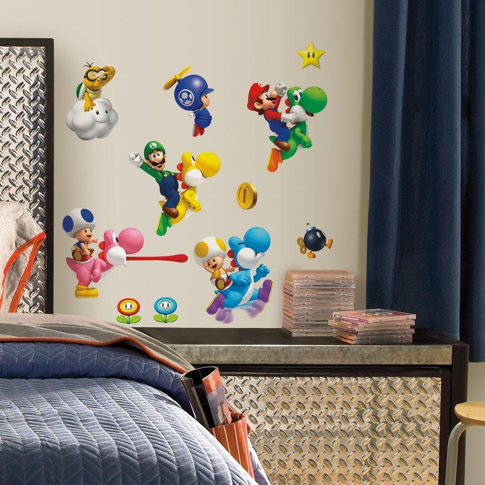 nintendo super mario bros wii peel and stick piece wall decals